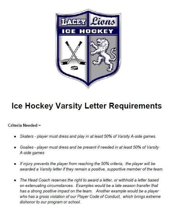 Ice Hockey Varsity Letter Requirements